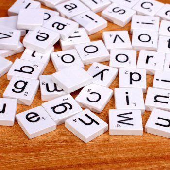 100pcs Lowercase Wooden Scrabble Tiles Crafts Wood Alphabets for Kids - WHITE WHITE
