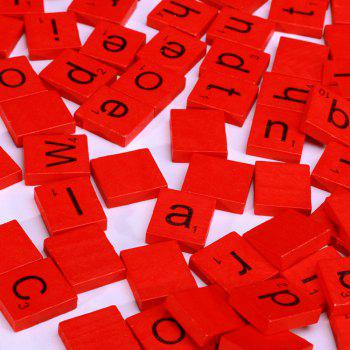 100pcs Lowercase Wooden Scrabble Tiles Crafts Wood Alphabets for Kids - RED RED