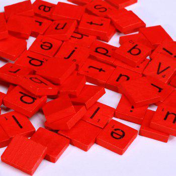 100pcs Lowercase Wooden Scrabble Tiles Crafts Wood Alphabets for Kids -  RED