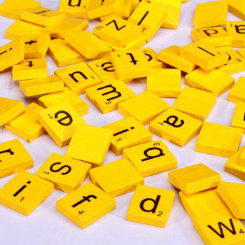 100pcs Lowercase Wooden Scrabble Tiles Crafts Wood Alphabets for Kids - YELLOW YELLOW