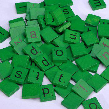 100pcs Lowercase Wooden Scrabble Tiles Crafts Wood Alphabets for Kids - GREEN GREEN