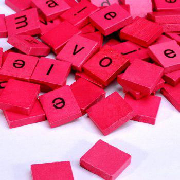 100pcs Lowercase Wooden Scrabble Tiles Crafts Wood Alphabets for Kids - ROSE RED