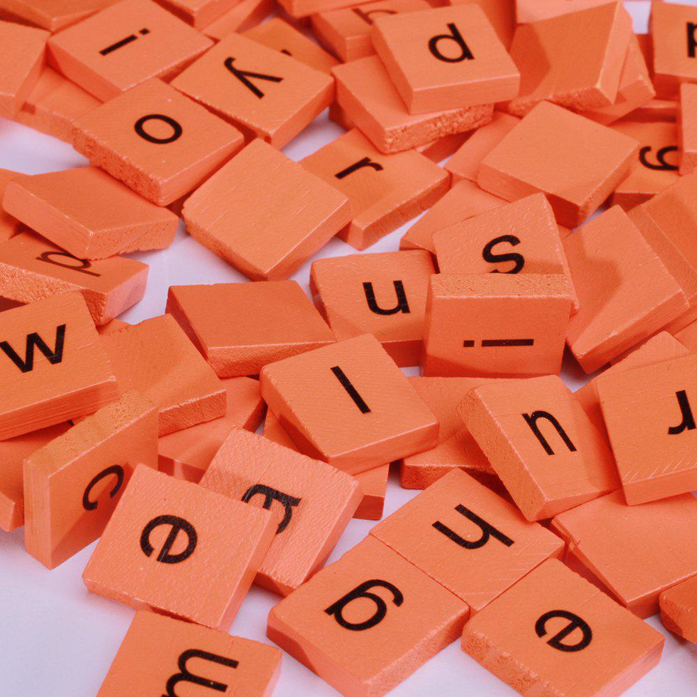 100pcs Lowercase Wooden Scrabble Tiles Crafts Wood Alphabets for Kids - ORANGE