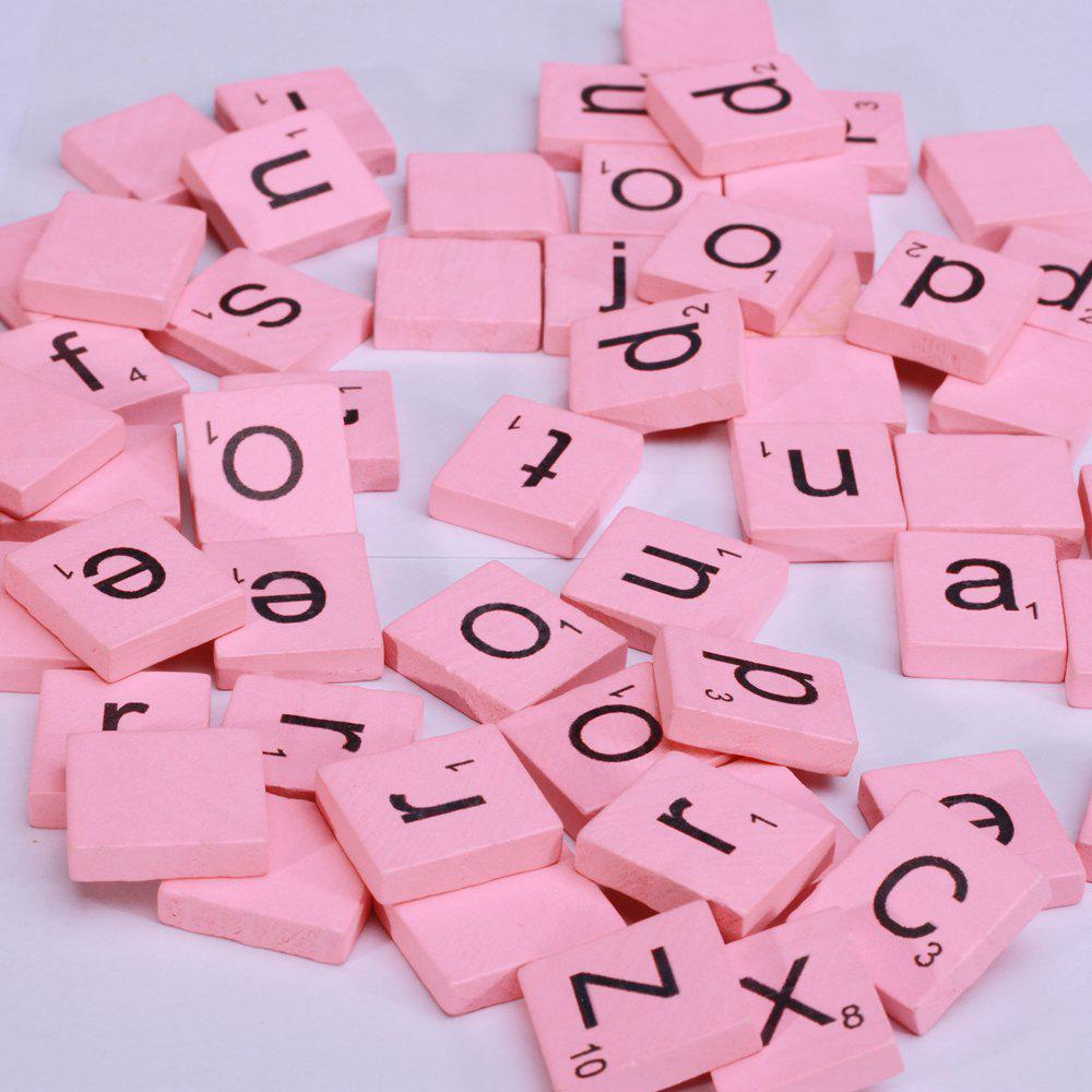100pcs Lowercase Wooden Scrabble Tiles Crafts Wood Alphabets for Kids - PINK