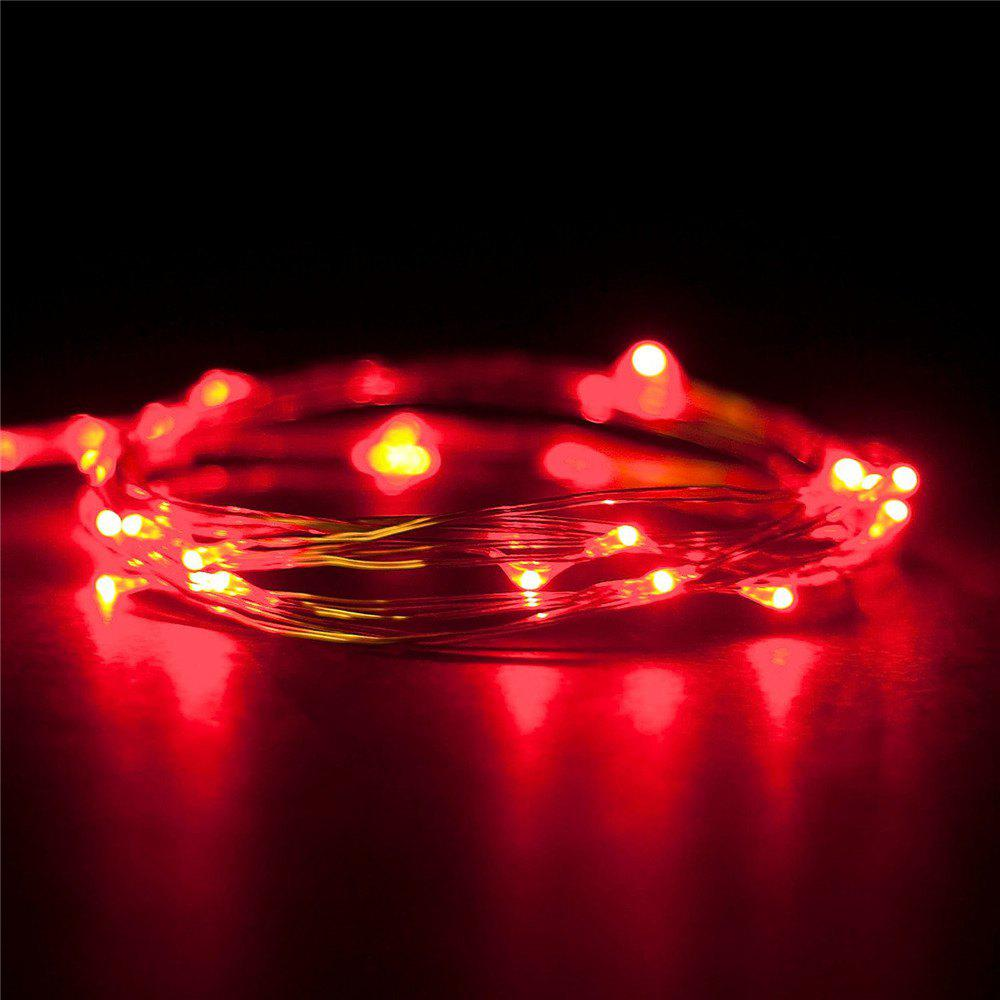 Supli 5M 50 LEDs USB Multi Colors Holiday String Lights Lamp Copper Wire Home Lighting - RED