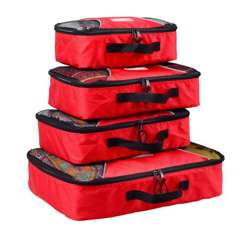 4pcs / Set Packing Cubes Travel Organizer - RED