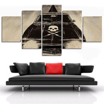 5PCS Skull Bones Printed Canvas Unframed Wall Art - COLORMIX