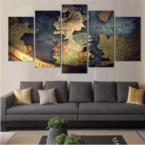 5PCS Earth Abstract Pattern Printed Painting Canvas Unframed Wall Art - COLORMIX
