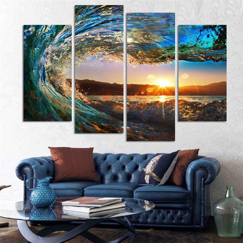 4PCS Waves Sunset Printed Canvas Unframed Wall Art burning guitar pattern unframed wall art canvas paintings
