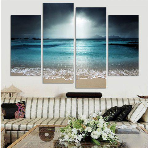 4PCS Ocean Printed Canvas Unframed Wall Art - COLORMIX