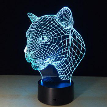 Yeduo New Creative 3D Illusion Lampe Leopard Head LED Touch Switch USB Lampe de table - multicolorcolore