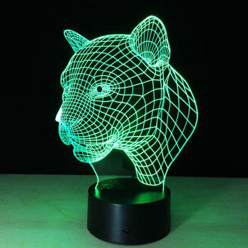 Yeduo New Creative 3D Illusion Lamp Leopard Head LED Touch Switch USB Table Lamp -  COLORMIX