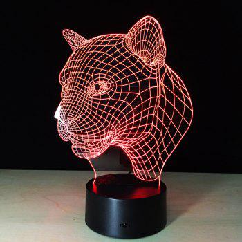 Yeduo New Creative 3D Illusion Lamp Leopard Head LED Touch Switch USB Table Lamp - COLORMIX COLORMIX