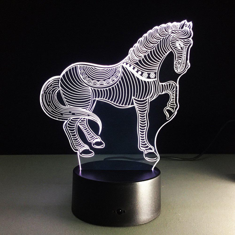 Yeduo 3D LED Nightlights pour animaux Horse Zebra Desk Table Lamp USB Night Night Night - multicolorcolore