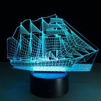 Yeduo Creative 3D LED Night Light Acrylic Sailing Boat Shape Discoloration Lamp - COLORMIX