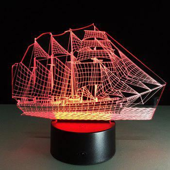 Yeduo Creative 3D LED Night Light Acrylic Sailing Boat Shape Discoloration Lamp - COLORMIX COLORMIX