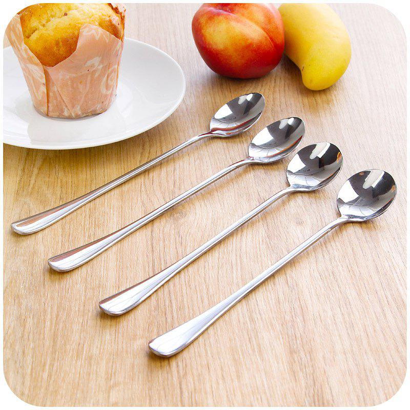 2PCS Double Metal Stir Spoon for Coffee Salad Dinner - STAINLESS STEEL
