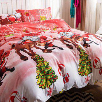 Mingjie Imitation Cotton Bedding Set for Queen Size - RED/WHITE RED/WHITE