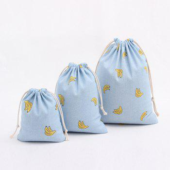 3PCS Fresh Banana Printed Cotton Flax Tea Bag Storage Pouch