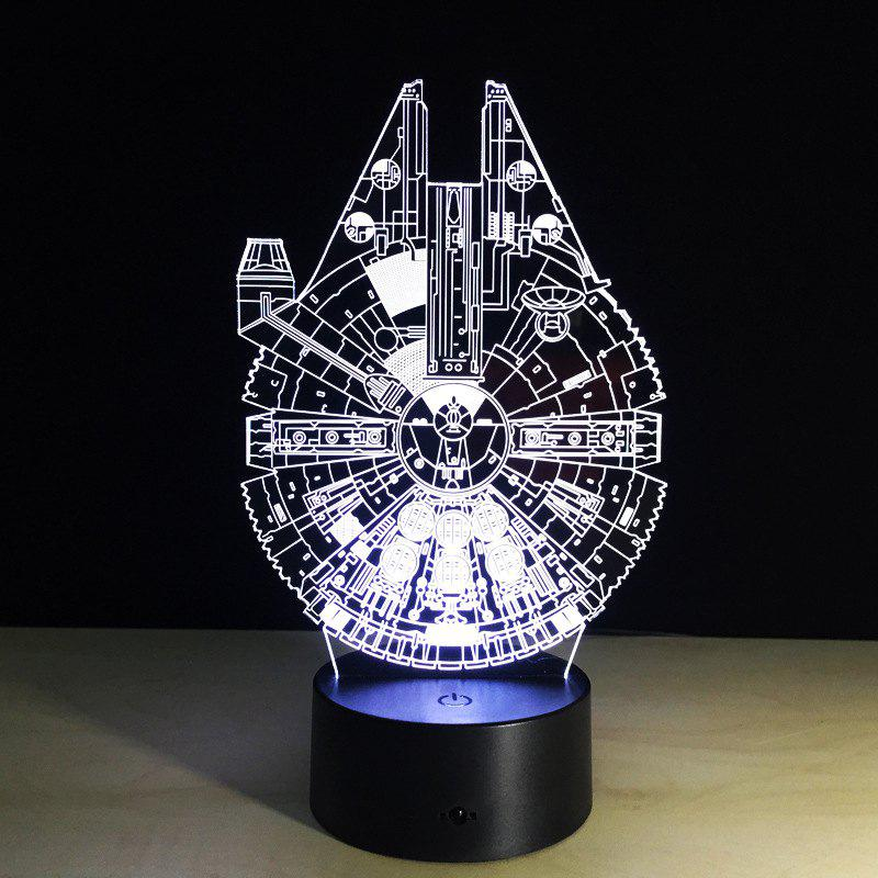 Yeduo New 3D Battleship Spacecraft Led Illusion Mood Lamp Bedroom Table Lamp Night Light Bulbing Child Kids Friends Man Family Gifts - COLORMIX