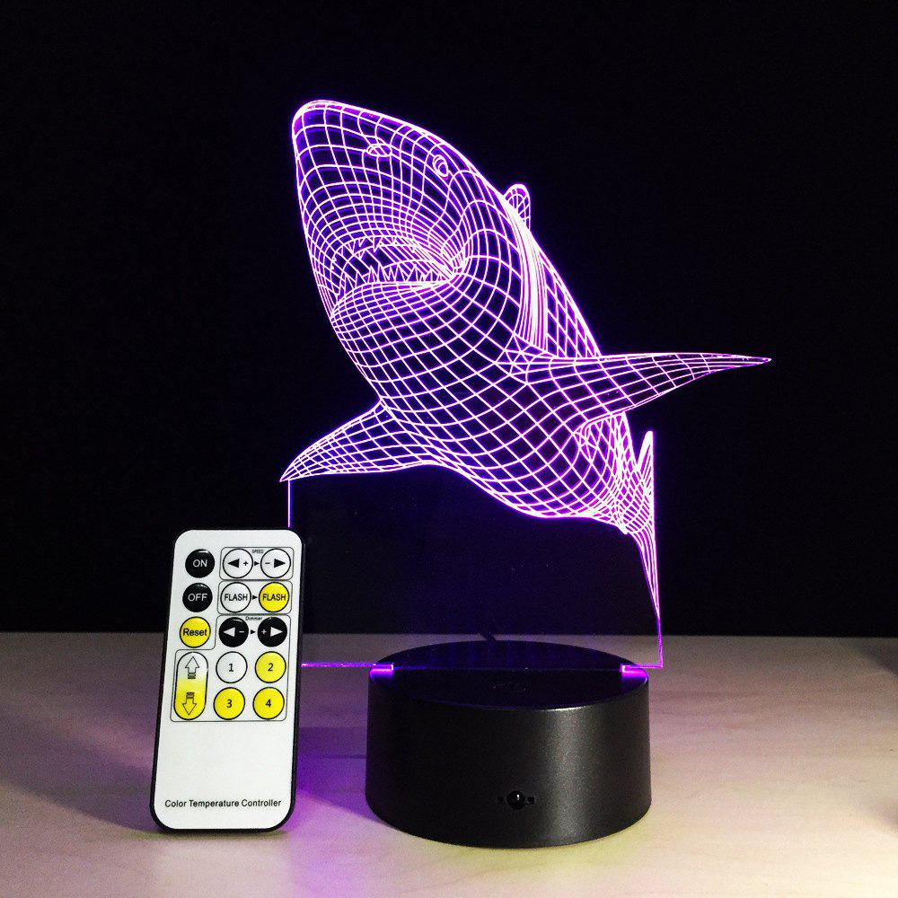 Yeduo shark Tooth 3D Led Night Light Acrylic Colorful Kids Baby Bedroom Usb Table Lamp Gift for Birthday Christmas - COLORMIX
