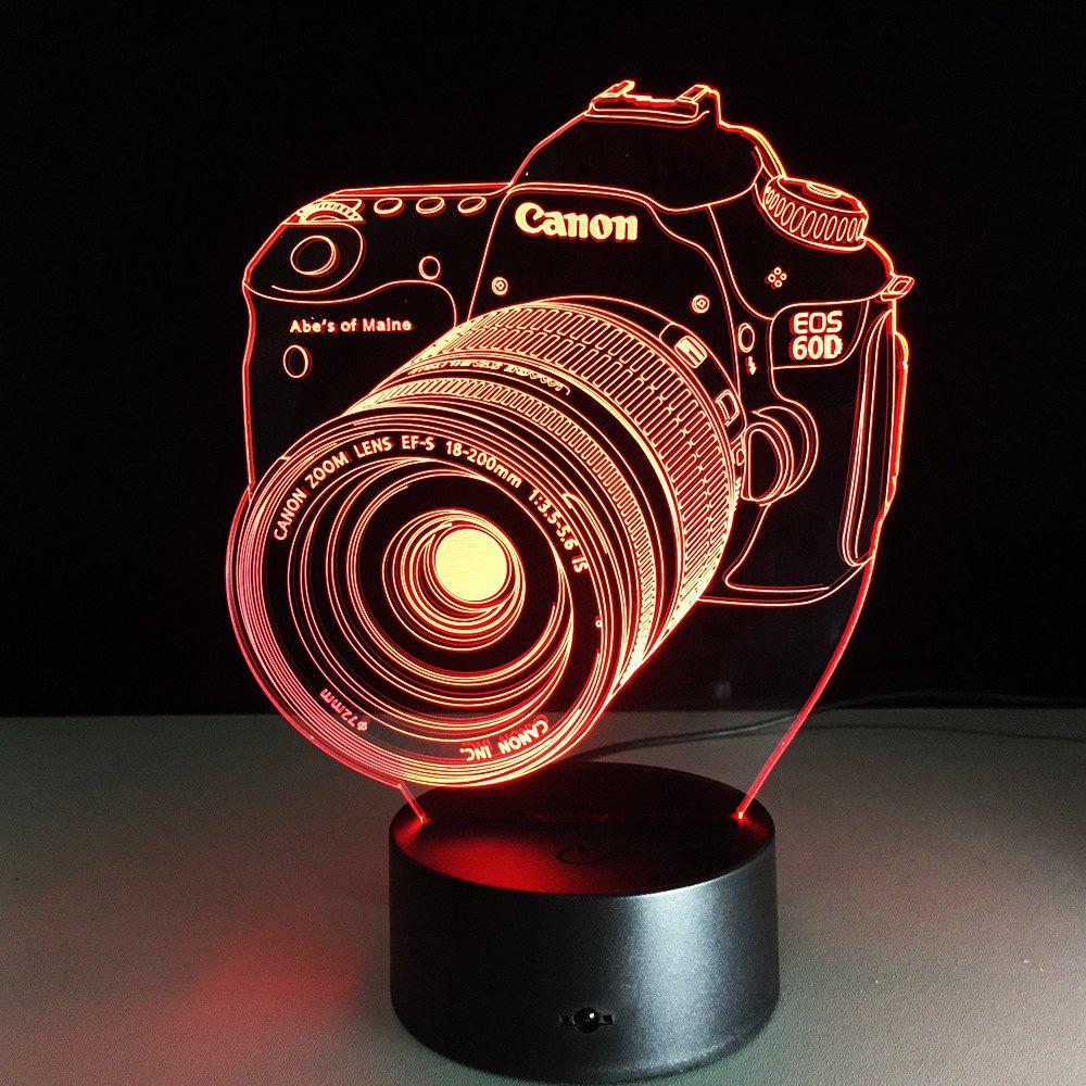 Yeduo Novelty 3D Acrylic Entertainment Camera Illusion Led Lamp Usb Table Light Rgb Night Light Romantic Bedside Decortion Lamp - COLORMIX