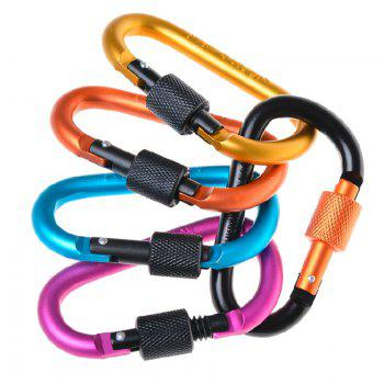 5pcs Outdoor Mountaineering Buckle Quick Hook D-Type Aluminum Alloy Key Buckle Knapsack Bottle - multicolorCOLOR