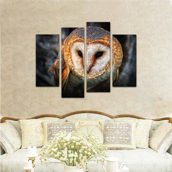 Yhhp 4 Panels Animal Owl Picture Print Modern Wall Art On Canvas Unframed - COLORMIX