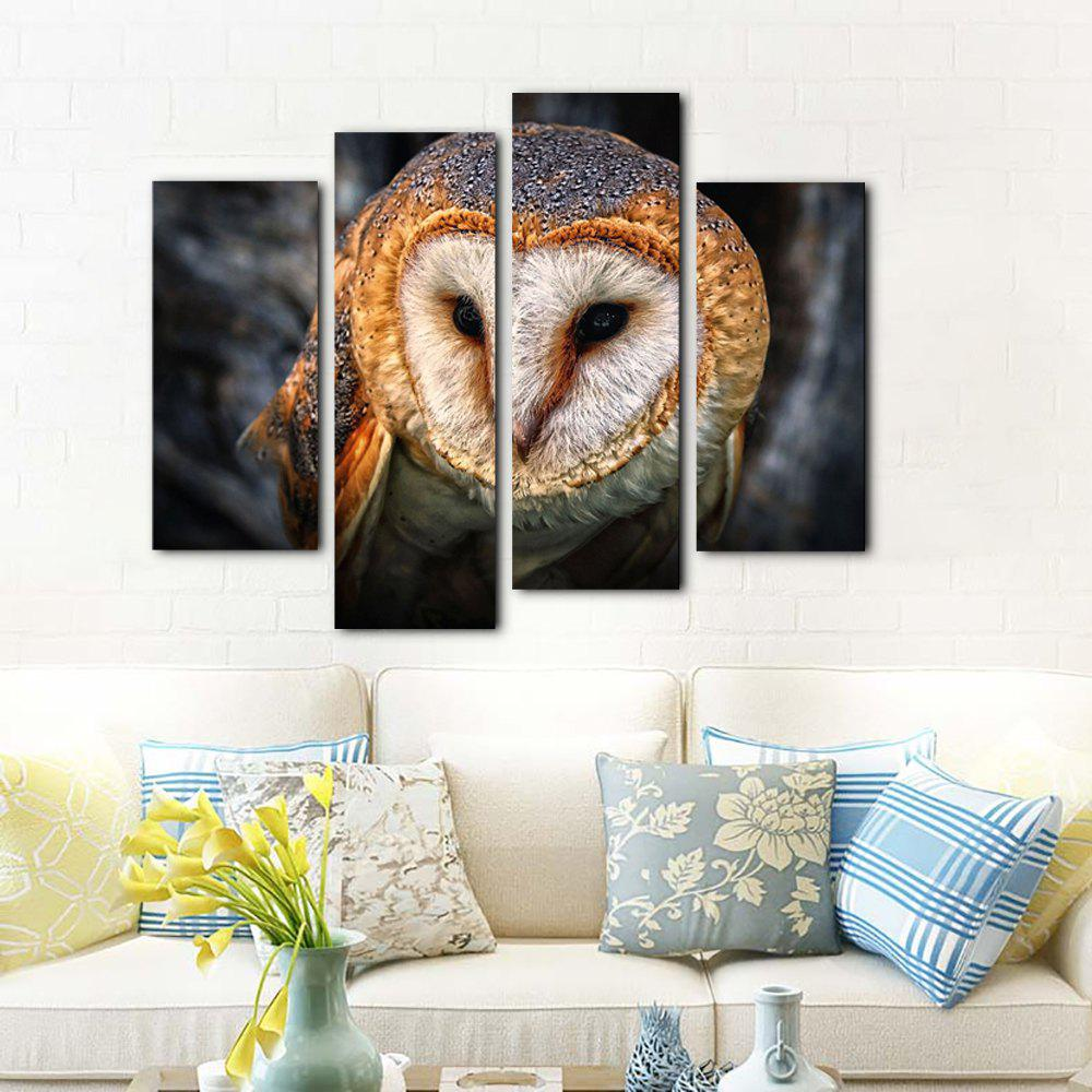 Yhhp 4 Panels Animal Owl Picture Print Modern Art mural Sur Toile Unframed - multicolore