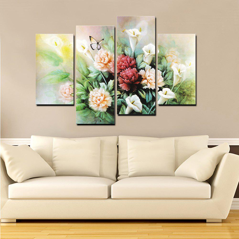 Yhhp 4 Panels Peony Flowers Picture Print Modern Wall Art On Canvas Unframed - COLORMIX