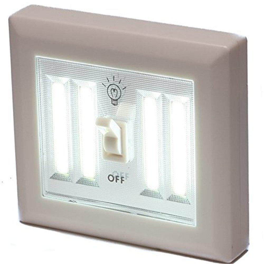 Supli 4COB Led Wireless Night Light Switch Wall Lamp Battery Operated Kitchen Cabinet Garage Closet Camp Emergency Lamp with Magnetic - WHITE