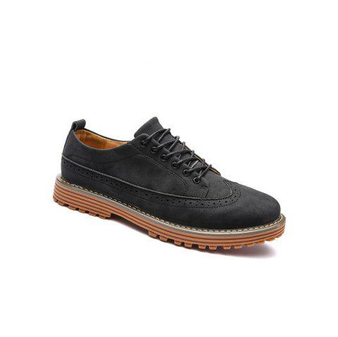 Carved Solid Color Round Toe Casual Shoes - BLACK 42