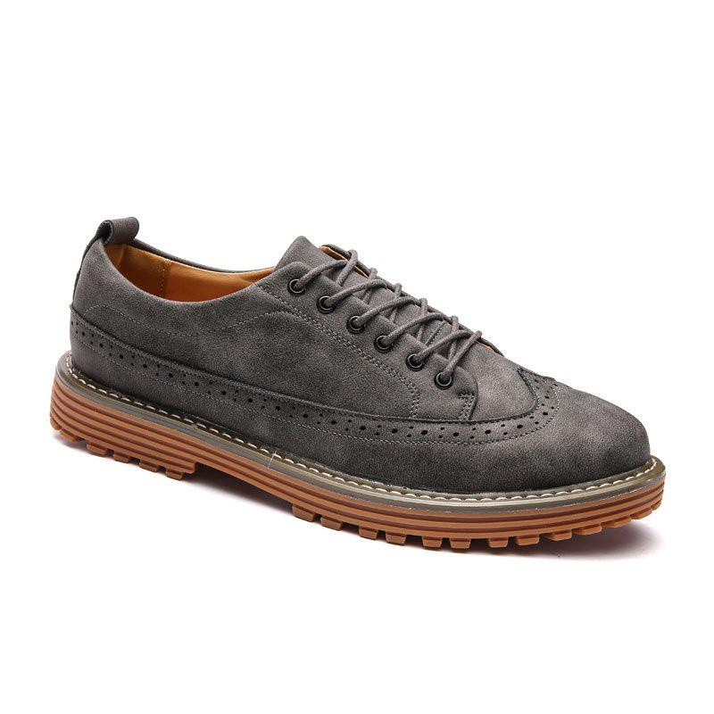 Carved Solid Color Round Toe Casual Shoes - GRAY 41