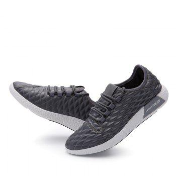Checked and Solid Color Sport Shoes - GRAY 40