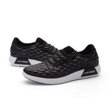 Checked and Solid Color Sport Shoes - BLACK 39