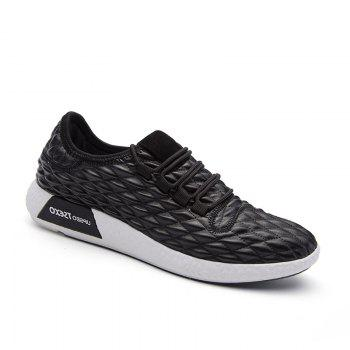 Checked and Solid Color Sport Shoes - BLACK 40