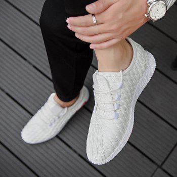 Checked and Solid Color Sport Shoes - WHITE WHITE