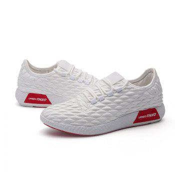 Checked and Solid Color Sport Shoes - WHITE 40