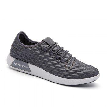 Checked and Solid Color Sport Shoes - GRAY GRAY