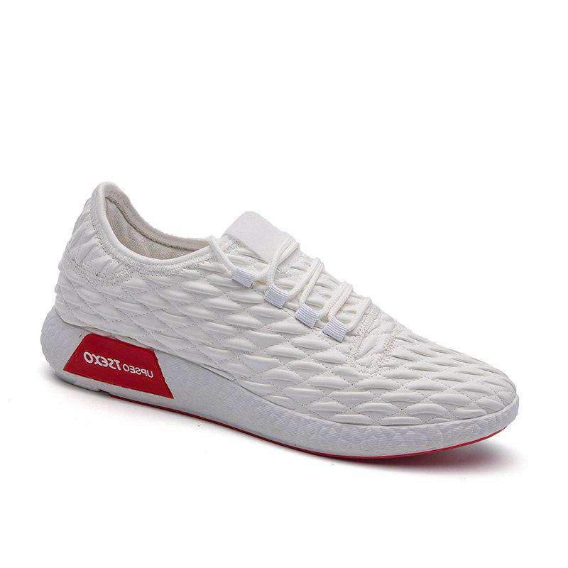 Checked and Solid Color Sport Shoes - WHITE 41