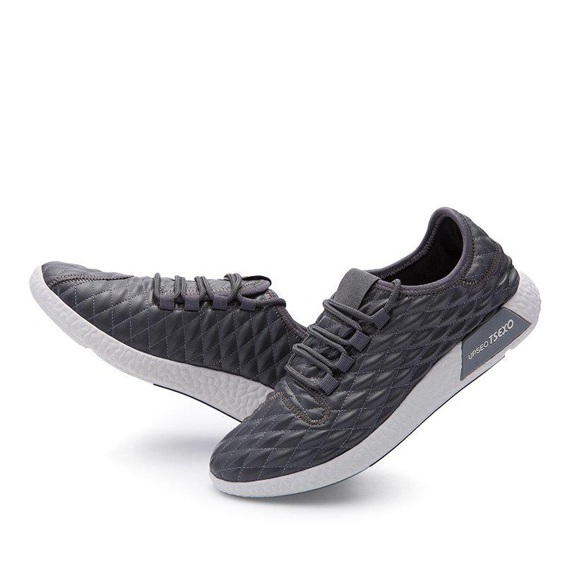 Checked and Solid Color Sport Shoes - GRAY 39