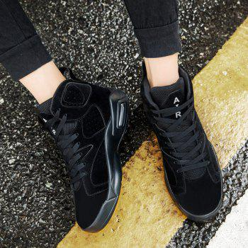 High Top Breathable Basketball Shoes - BLACK 44