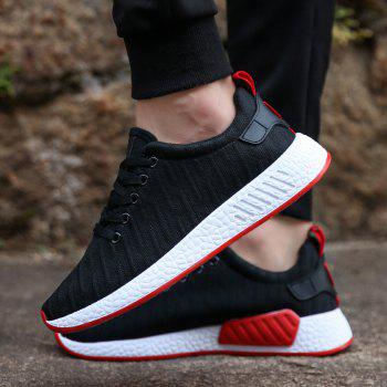 Color Block Knited Sport Shoes - BLACK 42