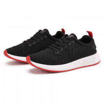 Color Block Knited Sport Shoes - BLACK 40