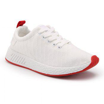 Color Block Knited Sport Shoes - WHITE 43