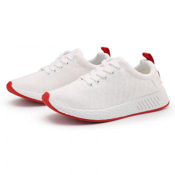 Color Block Knited Sport Shoes - WHITE WHITE