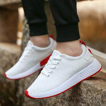Color Block Knited Sport Shoes - WHITE 39