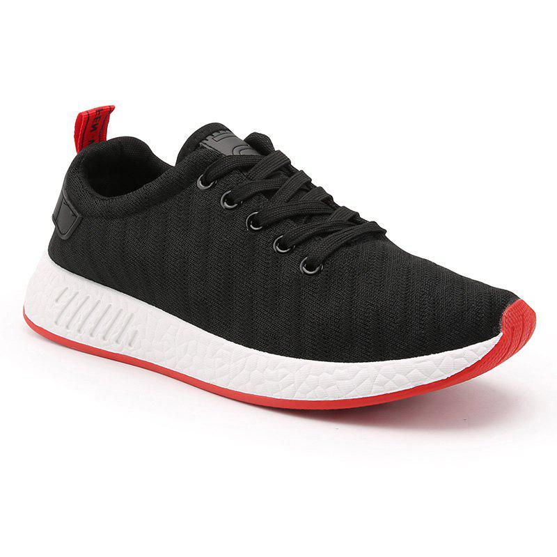 Color Block Knited Sport Shoes - BLACK 41