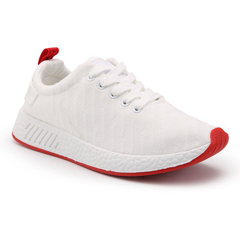 Color Block Knited Sport Shoes - WHITE 42