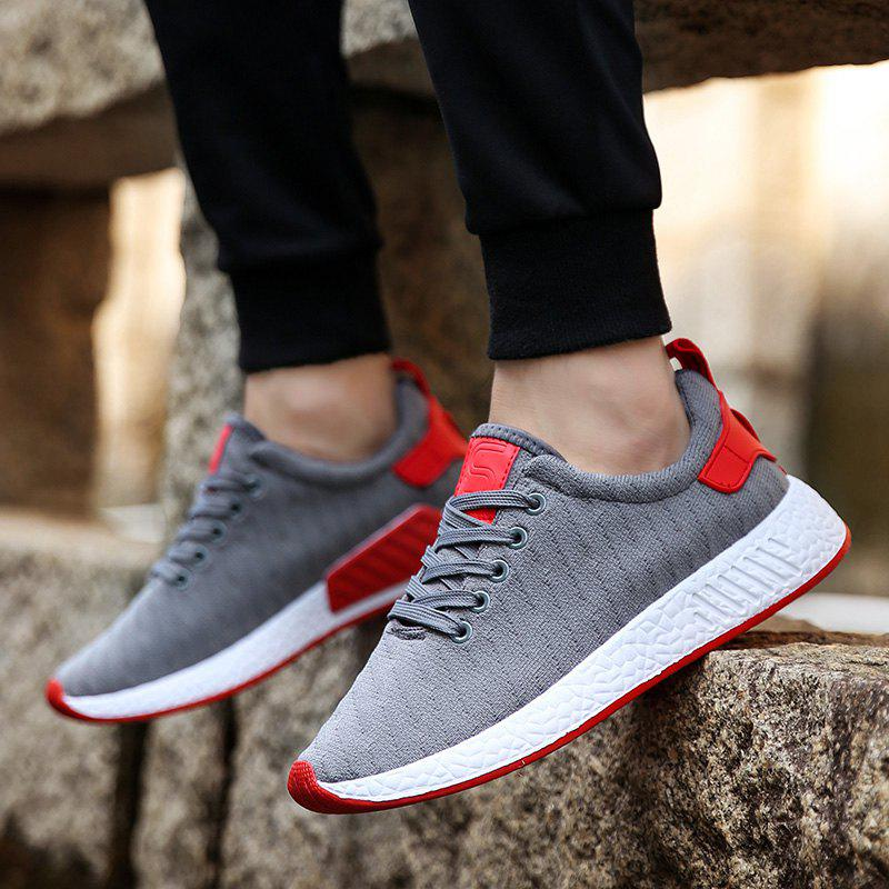 Color Block Knited Sport Shoes - GRAY 42